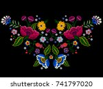 embroidery native neckline... | Shutterstock .eps vector #741797020