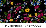 embroidery native seamless... | Shutterstock .eps vector #741797023
