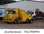 yellow scania truck   salvage... | Shutterstock . vector #741798994