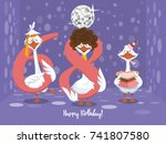 two goose holding the number 68....   Shutterstock .eps vector #741807580