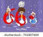 two goose holding the number 66....   Shutterstock .eps vector #741807604