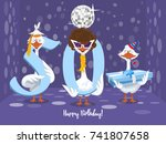 two goose holding the number 50....   Shutterstock .eps vector #741807658
