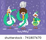 two goose holding the number 69....   Shutterstock .eps vector #741807670