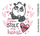 bear cute panda character in... | Shutterstock .eps vector #741808330