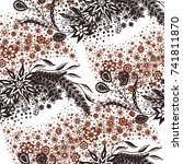 seamless floral pattern with... | Shutterstock .eps vector #741811870