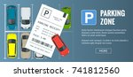 cars in the parking lot and... | Shutterstock .eps vector #741812560