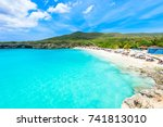 grote knip beach  curacao ... | Shutterstock . vector #741813010