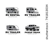 set of monochrome camper van... | Shutterstock .eps vector #741813034