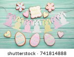 easter cookies with paper... | Shutterstock . vector #741814888