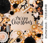 frame made of christmas balls... | Shutterstock . vector #741816448