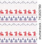 winter holiday knitting pattern ... | Shutterstock .eps vector #741820780