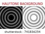 set of monochrome halftone... | Shutterstock .eps vector #741836254