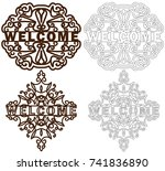 set of welcome plastic or paper ...   Shutterstock .eps vector #741836890