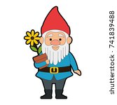cute gnome with flower plant... | Shutterstock .eps vector #741839488