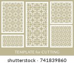 decorative panels set for laser ... | Shutterstock .eps vector #741839860