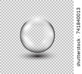 transparent glass sphere with... | Shutterstock .eps vector #741840013
