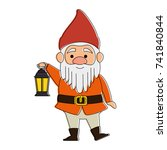 cute gnome with miner lamp... | Shutterstock .eps vector #741840844