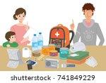 objects useful in emergency... | Shutterstock .eps vector #741849229