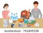 objects useful in emergency... | Shutterstock .eps vector #741849238