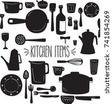 kitchen items hand drawn... | Shutterstock .eps vector #741854269