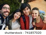 friends taking photos | Shutterstock . vector #741857020