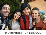 friends taking photos | Shutterstock . vector #741857020