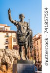 Small photo of Monument to the Emperor Octavian Augustus - the founder of Zaragoza, Spain. Close-up. Vertical