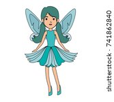 beautiful fairy flying character | Shutterstock .eps vector #741862840