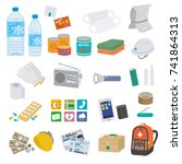 disaster preventive goods... | Shutterstock .eps vector #741864313