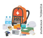 disaster preventive goods... | Shutterstock .eps vector #741864316