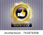 golden badge with like icon... | Shutterstock .eps vector #741876508