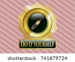 gold shiny badge with syringe... | Shutterstock .eps vector #741879724
