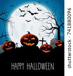 halloween card with smiling... | Shutterstock .eps vector #741880096