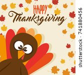 happy thanksgiving day card   Shutterstock .eps vector #741880456