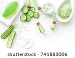 fresh organic cosmetics with... | Shutterstock . vector #741883006
