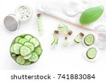 fresh organic cosmetics with... | Shutterstock . vector #741883084