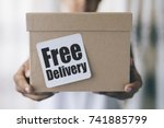 free delivery concept   boy... | Shutterstock . vector #741885799