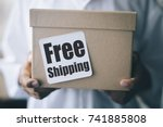 free shipping concept   boy... | Shutterstock . vector #741885808