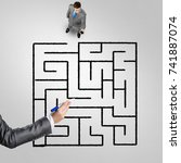 top view of puzzled businessman ... | Shutterstock . vector #741887074