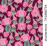 seamless vector pattern with... | Shutterstock .eps vector #741888754