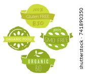 healthy food icons  labels.... | Shutterstock .eps vector #741890350