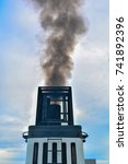 the chimney smokes on ferry... | Shutterstock . vector #741892396