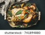 oven roasted whole chicken with ... | Shutterstock . vector #741894880