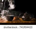 chinese tea ceremony. ceramic... | Shutterstock . vector #741904423