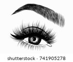 hand drawn woman's fresh makeup ... | Shutterstock .eps vector #741905278
