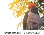 asian girl backpack in nature...   Shutterstock . vector #741907660