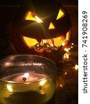 halloween jack o lantern...   Shutterstock . vector #741908269