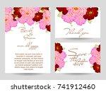 romantic invitation. wedding ... | Shutterstock .eps vector #741912460