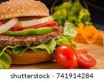 fresh homemade meat burgers on... | Shutterstock . vector #741914284