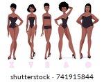set of female body shape types  ... | Shutterstock .eps vector #741915844